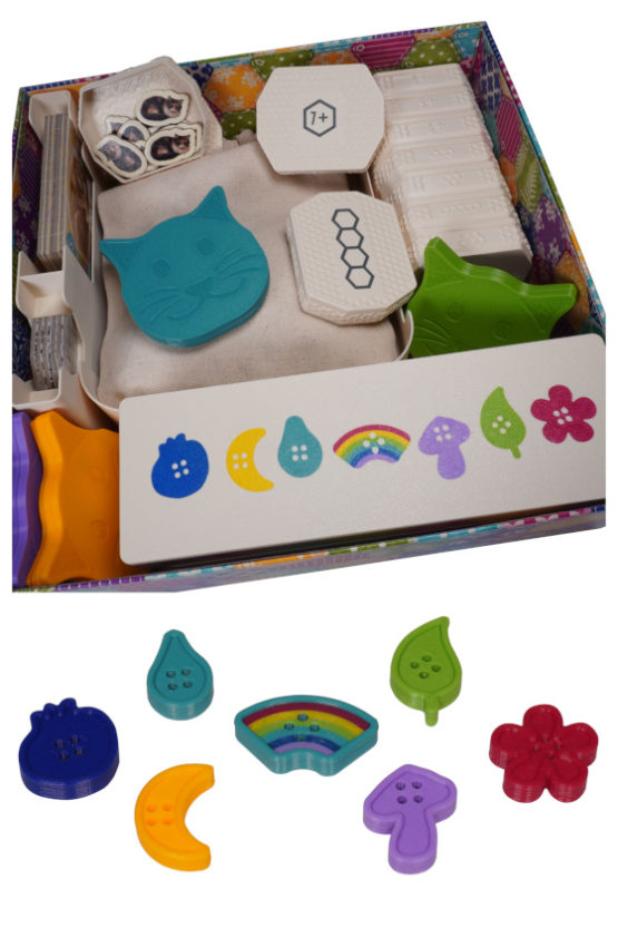 Calico Board Game Insert Inlay Organizer Upgrade 3D Token Buttons